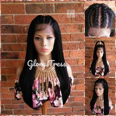 READY To SHIP // Straight Lace Front Wig, Hand-Braided Wig, Human Blended Wig, Corn Row Wig, African American Wig, 13x4 Lace / REDEMPTION Micro Braids Human Hair, Remy Human Hair, Front Braids, Straight Lace Front Wigs, Straight Bob, Senegalese Twist Braids, Braids Wig, Flat Iron Curls, Half Wigs