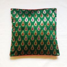 Decorative Cushion Covers - Handmade Pillow Cover in Green Gold and Green Chanderi Weaving / Cushion Cover -  Silk Pillo