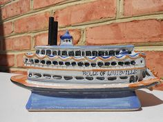 Rare Belle of Louisville Stoneware Riverboat First National Bank Christmas 1983