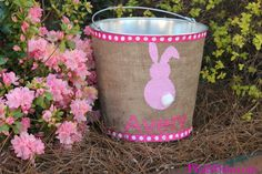 DIY Easter Pails. So cute and simple, using burlap.
