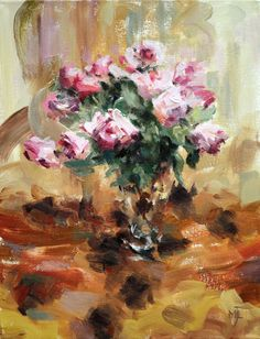 Pink Roses in Glass Vase, oil on canvas,  40x30cm, 16x12in