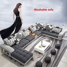 WSN Fabric Sofa, Large Corner Sofa Fabric Settee Left Hand Right Hand Living Room Furniture