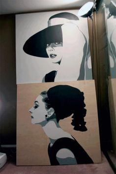 "Paintings of Audrey Hepburn - 48""x48"" acrylic on wood."