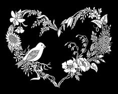 SongBird on Wildflower Heart Coloring Page (Coloring Page - Instant Digital Download)    -- Perfect for Adults, Teens & older children --