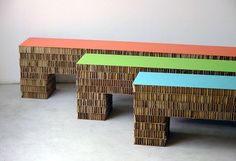 """""""Streep 180"""" bench made from durable honeycomb cardboard with a laminated top. Designed by Italian studio A4A Design, who has a history of d..."""