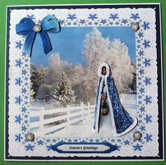Gallery - I printed the Winter Lady in Blue sheet and cut the topper out. I attached it on a blue, glittering piece . Thing 1, Ribbon Bows, Card Stock, Decoupage, Christmas Cards, Card Making, Layers, Base, Decorations