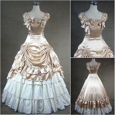 Custom Renaissance Victorian Gothic Lolita/Marie Antoinette Satin Ruffle Corset Ball Gown Medieval Velvet Vintage Costume