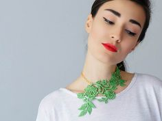 Lasata // Green Necklace/ Lace Necklace/ Statement Necklace/ Lace Fashion/ Floral Necklace/ Women Accessory/ Gift For Her/ Woman Fashion by EPUU on Etsy https://www.etsy.com/listing/219544460/lasata-green-necklace-lace-necklace
