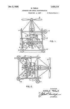 Tesla's 1928 patent for a VTOL aircraft.