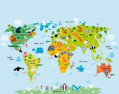 Funny cartoon world map with traditional animals of all the photo wallpaper wall mural for childrens bedroom girls or boys room decor nursery decor the whole wide world map kids wall mural by purpleeyedesign gumiabroncs Images