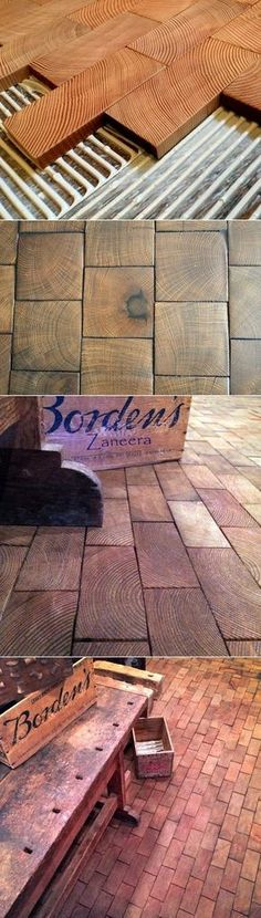 end-grain block flooring from www.- end-grain block flooring from www.apartmentther… end-grain block flooring from www. Planchers En Chevrons, Woodworking Plans, Woodworking Projects, Woodworking Furniture, Home Projects, Home Improvement, Sweet Home, End Grain Flooring, Wood Flooring