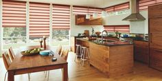 Vignette® Modern Roman shades by Hunter Douglas feature consistent folds with no exposed rear cords, keeping windows uncluttered. Superior quality modern shades for your home. Traditional Roman Shades, Modern Roman Shades, Kitchen Renovation Cost, Motorized Blinds, Kitchen Blinds, Kitchen Windows, Kitchen Window Treatments, Hunter Douglas, Wood Blinds