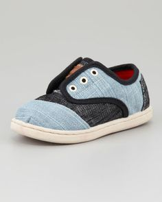 Tiny Two-Tone Denim Cordones Shoe  by TOMS at Neiman Marcus.