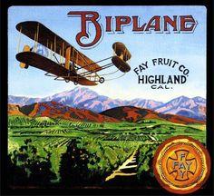Highland Biplane Airplane Orange Citrus Crate Label Art Print