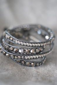 BRACELET - GREY WITH STONES & CRYSTALS - 4 ROW