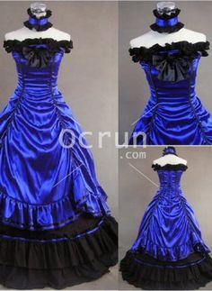 Wunderschöne ärmelloses blaues Kleid Gothic viktorianischen