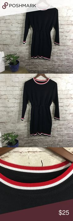 Black dress (k) Long, warm, long sleeve  boat neck , Dresses Midi