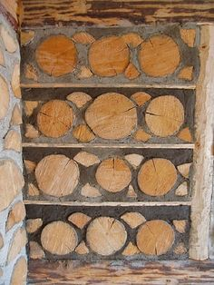 Cordwood wall by cordwood expert Olle Hagman of Sweden. www.kubbhus.seFor more cordwood inspiration: inspirationgreen.com/cordwood-homes