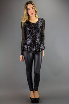 SEQUIN PEPLUM TOP WITH MESH