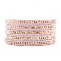 Rose Gold Wrap Bracelet on Sauriya Leather  $220.00