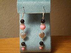 Black & Pink Sandstone Dangle Earrings with Tibetan Silver