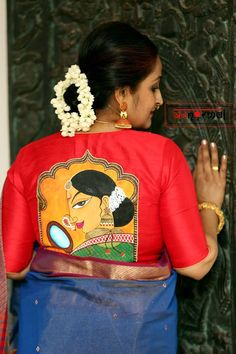 Quirky And Unique Blouse Designs By Abnormal Blouse Back Neck Designs, Simple Blouse Designs, Stylish Blouse Design, Saree Painting Designs, Fabric Paint Designs, Fabric Paint Shirt, Fabric Painting, Mural Painting, Fabric Art