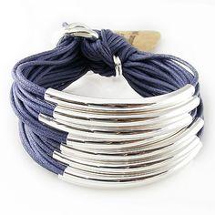 Multi Tube Bracelet - Silver Denim, Bracelets, Gillian Julius, Jewelry $275