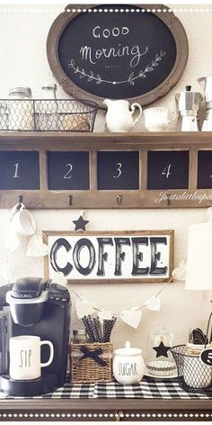 Farmhouse Coffee Station Ideas – Farm Style Coffee Bar Ideas, Pictures & Inspiration For Your Home Coffee Station Kitchen, Coffee Bars In Kitchen, Coffee Bar Home, Home Coffee Stations, Coffee Nook, Coffee Canister, Bar Set Up, Coffee Design, Rustic Farmhouse Decor