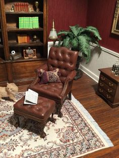 Dollhouse Miniature Artisan Signed Gail Steffey Leather Chair & Ottoman