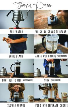 How to make perfect French Press Coffee - wet grinds, wait 30 seconds, fill carafe, wait 2.5 minutes, stir, wait 2 minutes then plunge and pour!