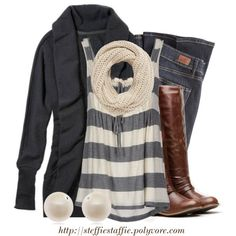 """Winter Casual Stripes"" by steffiestaffie on Polyvore"