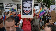 Protesters rally against Russia's anti-gay laws and President Vladimir Putin's stand on gay rights last week in New York.