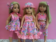 My bright new summer play clothes range, modelled by Hannah Gotz, Meredith Journey Girl and Katie Gotz Happy Kidz. Also fits American Girl.