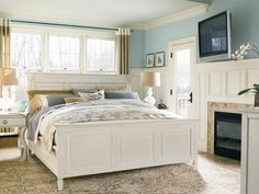 Summer Hill Collection-www.chapinfurniture.com -Panel Bed with Storage Footboard and Nightstand
