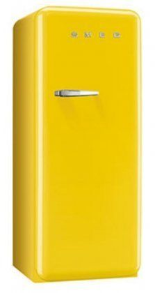 Smeg 24 Inch Retro Style Top-Freezer Refrigerator with Cu. Capacity, Ice Compartment, Interior Light, Adjustable Glass Shelves and Bottle Storage, in Yellow: Right Hinge Retro Appliances, Kitchen Appliances, After Christmas Sales, Mid Century Modern Decor, Kitchen Equipment, Retro Ideas, Happy Colors, Top Freezer Refrigerator, Glass Shelves