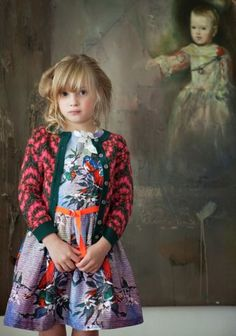 Dominique Ver Eecke winter 2012 retro style birds and flower print for little girls