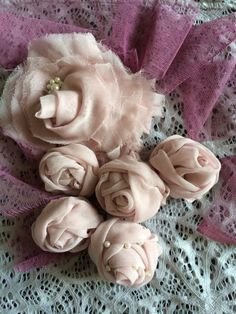 romantic flower is made ​​of old scarves