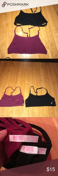 PINK caged back sport bras Black is a L, red is a M... workout sport bras never worn 15$ for both!!!! PINK Victoria's Secret Intimates & Sleepwear Bras