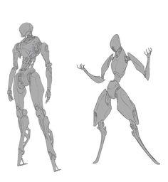 by bao chenda on ArtStation. Robot Concept Art, Creature Concept Art, Creature Design, Character Creation, Character Concept, Character Art, Robots Characters, Arte Robot, Arte Cyberpunk