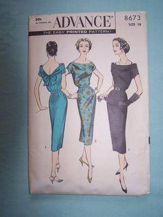 PATTERN+Advance+8673++Misses+Dress+1958+by+FlowersPlusFromSara,+$8.00