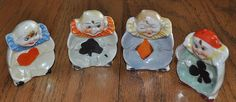 Set Four Clown Ashtrays - Club Suit from secollectibles on Ruby Lane
