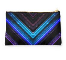 Sparkly metallic blue and purple galaxy lines Studio Pouch by #PLdesign #geometric #lines #abstract