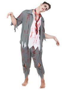 Zombie Kostüm für Herren: Dieses Zombiekostüm für Männer besteht aus einem Oberteil, einer Hose und einer Krawatte (Perücke nicht im Lieferumfang enthalten). Das weiß-graue Oberteil erweckt die Illusion, Sie trügen ein...