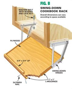 Swing down kitchen cookbook (ipad) rack  Kitchen Storage Projects That Create More Space - Step by Step | The Family Handyman