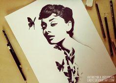 audrey. by =Lady2 on deviantART #CelebrityArt #AudreyHepburn #Art