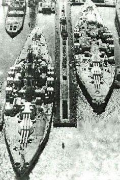 Battleships USS Tennessee (BB-43) and USS California (BB-44) at Bethlehem Steel 1959.