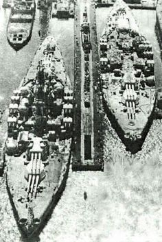 14 in sisters USS Tennessee and USS California awaiting scrapping at Bethlehem Steel, 1959.  Both were modernised dreadnought era ships.