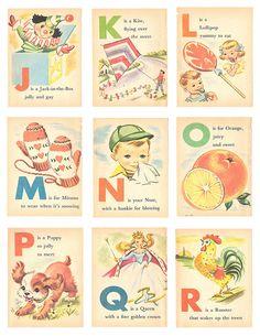 Vintage alphabet cards