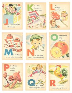 Vintage alphabet flashcards -  part 2. Illustrated by UncommonARTicles, on etsy