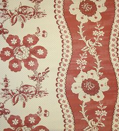 Toile de Lapins Wallpaper Traditional French floral mute red wallpaper integrating rabbit design In cream .